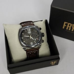 Frye Chronograph Moto Engineer Leather Strap Watch